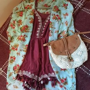 Poof embroidered romper with tassels